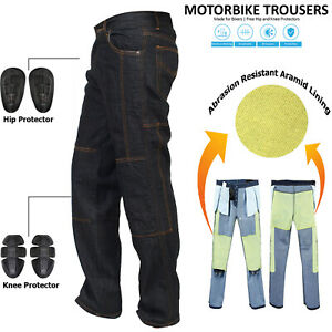 Denim-Men-039-s-BLK-Motorcycle-Motorbike-Trousers-Reinforced-Protective-Lining-jeans