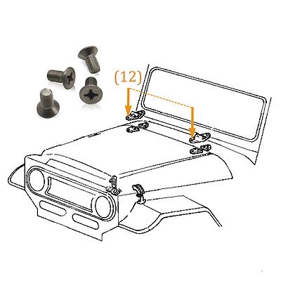 FJ40 Front Door Hinge Exterior Only Stainless Bolt Hardware Kit Land Cruiser