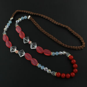 Damen-Halskette-Achat-Edelstein-Perlen-Lampwork-Kristall-Makramee-90cm-G980
