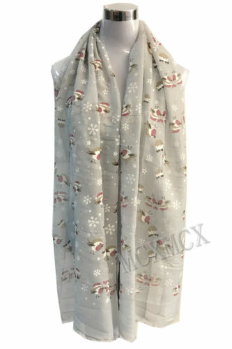 Le donne signore lunghe Carino Inverno Natale Robin Bird Patten Stampa Sciarpa Wrap