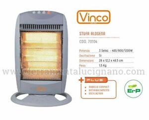 STUFA ELETTRICA ALOGENA OSCILLANTE 3 POTENZE 400/800/1200W VINCO 70104 CM.49,5