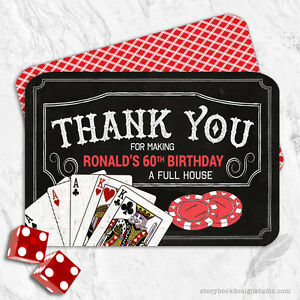 Casino Birthday Party Thank You Cards Craps Poker Roulette Dice