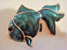 Vintage Swarovski Swan Signed Green Enamel Gold tone Fish Brooch