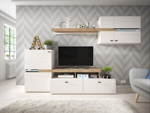 Excellent Details About Living Room Furniture Set Tv Unit Shelves Led Light Wood Effect Graphite Pine Home Remodeling Inspirations Cosmcuboardxyz