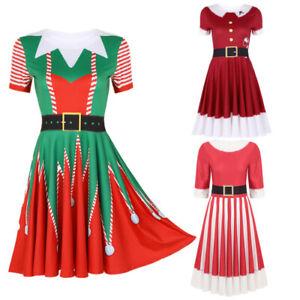 Women-Christmas-Short-Sleeves-Dress-Xmas-Santa-Fancy-Outfit-Skater-A-line-Dress