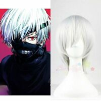 New Cool Tokyo Ghouls Kaneki Ken Mens Boys Male Anime Cosplay Costume Wig Silver