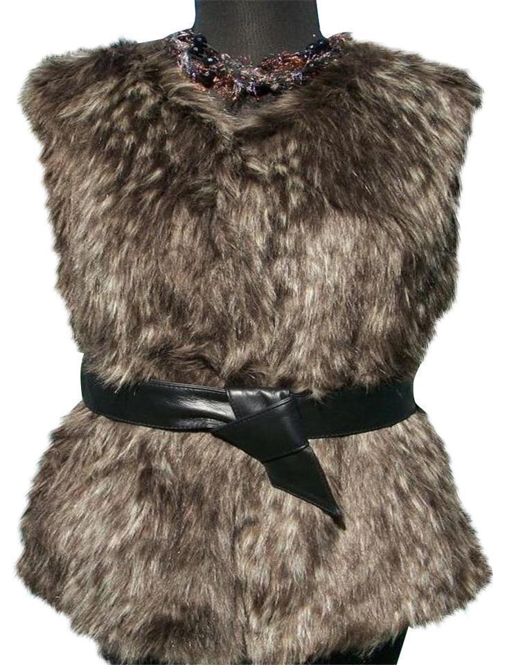 Cache Fox Faux Fur Vest Removable Leather Belt Coat Top New Size S M L  NWT
