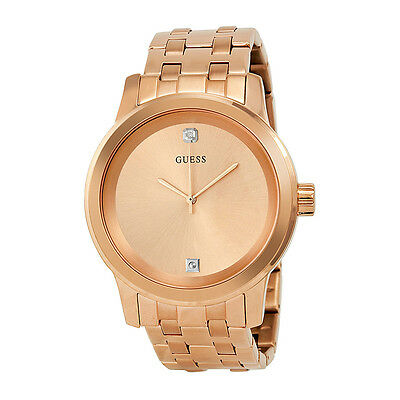 Guess Rose Dial Rose Gold-tone Stainless Steel Mens Watch U0103G2