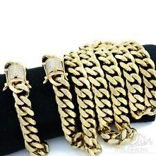 Men Cuban Miami Link Bracelet & Chain Set 14k Gold Plated 14mm *diamond Clasp*