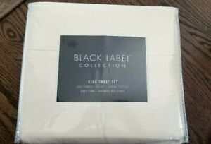 3 SetS Black Label Cotton Sheets. 600TC King , Flat,Fitted & 2 pillow cs-Ivory
