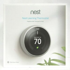 Nest-Learning-Smart-Thermostat-3rd-Generation-Silver-T3007ES-GOOD-NO-SCREWS