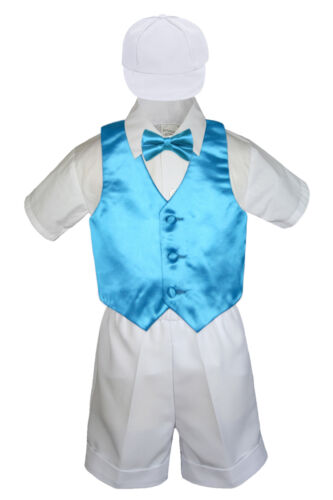 Boy Toddler Formal Turquoise Vest Bow Tie White Black Gray Brown Hat 5pc sz S-4T
