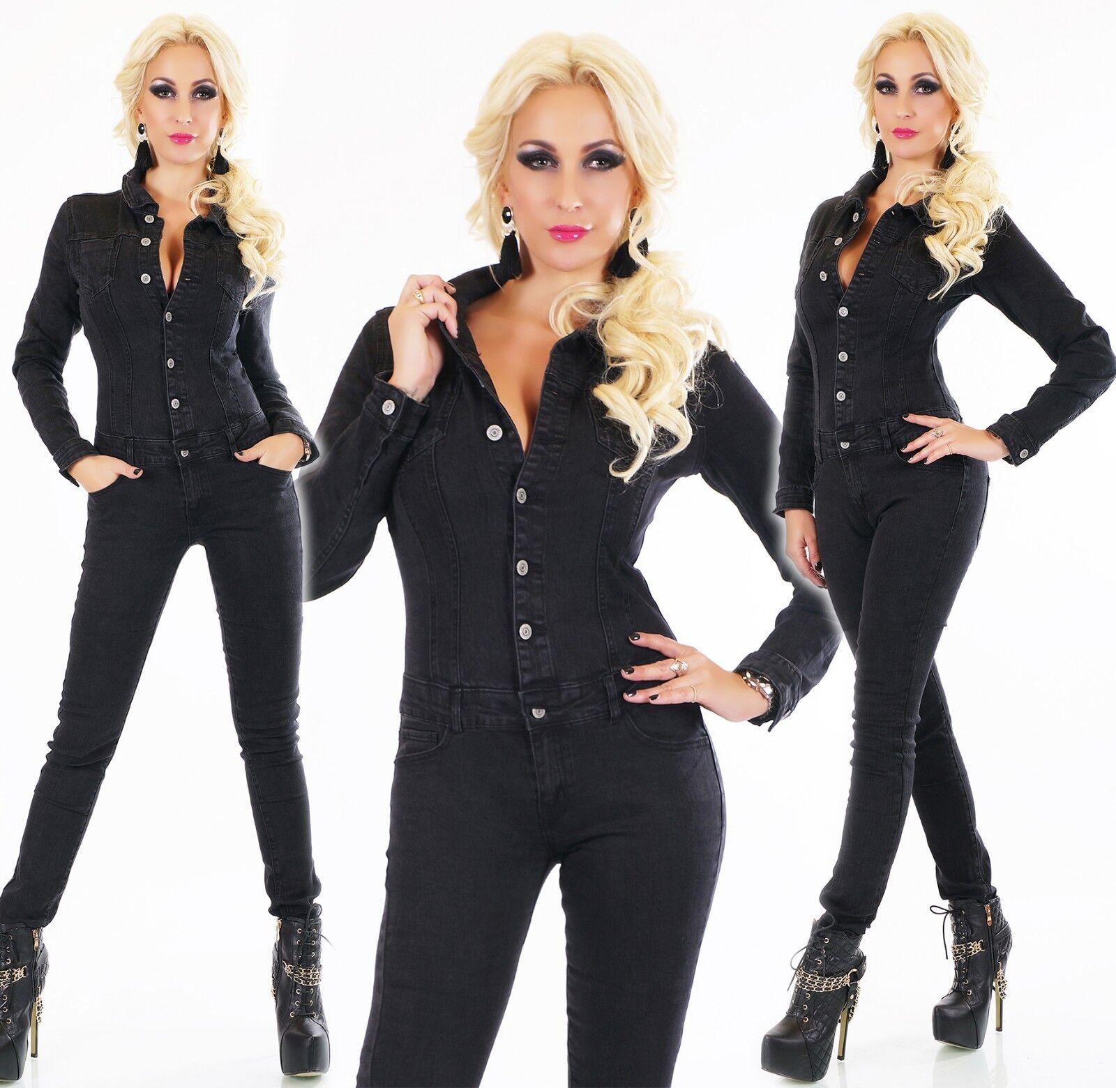 Manches Longues Jeans Combinaison Pantalon Coupe Skinny black Délavé Denim