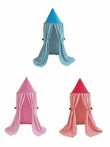 Image is loading Fabric-Gingham-Hanging-Play-Tent-Bed-Canopy-by-  sc 1 st  eBay & Fabric Gingham Hanging Play Tent / Bed Canopy by Win Green in Blue ...