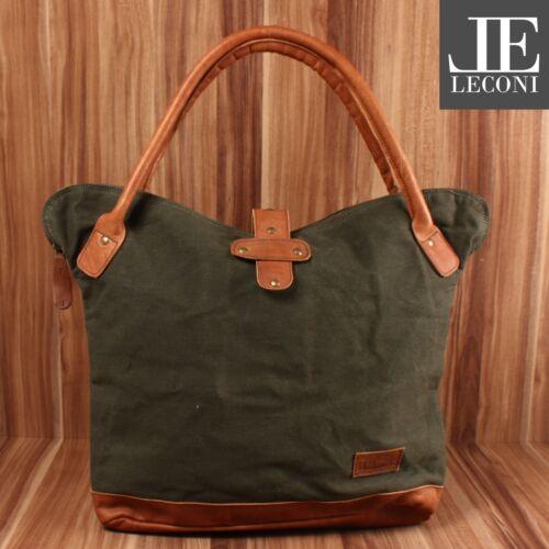 LECONI Shopper Damen Schultertasche Henkeltasche Canvas Leder grün LE0051-C