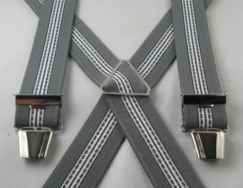 Hosenträger X-Form grau-weiß gestreift 120-140 cm x 35 mm