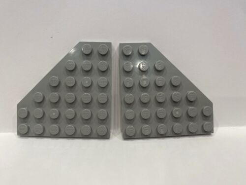 2 old Plate 6 x 6 Cut Corner LT GRAY 6106 LEGO Parts~ Wedge