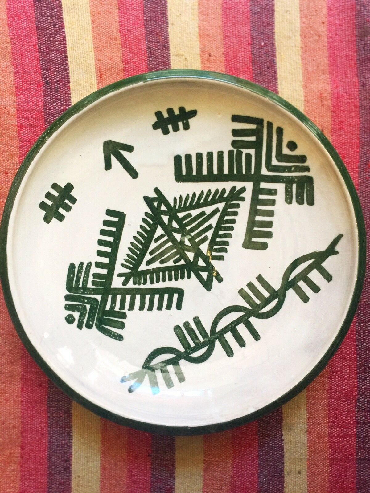 Berbere plate Grün handmade pottery made in MGoldcco painted by hand