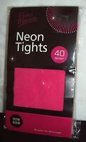 """Vintage Perfect Moments Neon 40 Denier Tights : One Size 2 Hgt 5'7"""" : Pink"""