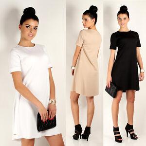 Brillant Classique Femmes Mini Robe Style Tunique à Encolure Ras-du-cou Tailles 8 -14 Fa236-afficher Le Titre D'origine