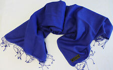 H53 NWT Bright Blue Color  Pashmina Silk Shawl/ Wrap Hand Woven In Nepal