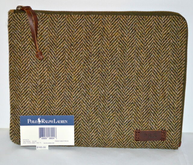 New $165 Polo iPad Olive Media Case Zip Cover Wool Tweed Tablet Pouch Leather