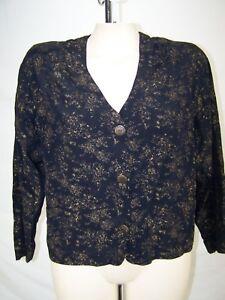 Carole-Little-Black-Gold-Long-Sleeve-Button-Front-Blazer-Womens-Size-Large-12-14