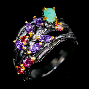 Unique-Set-Natural-Emerald-925-Sterling-Silver-Ring-Size-9-R102854