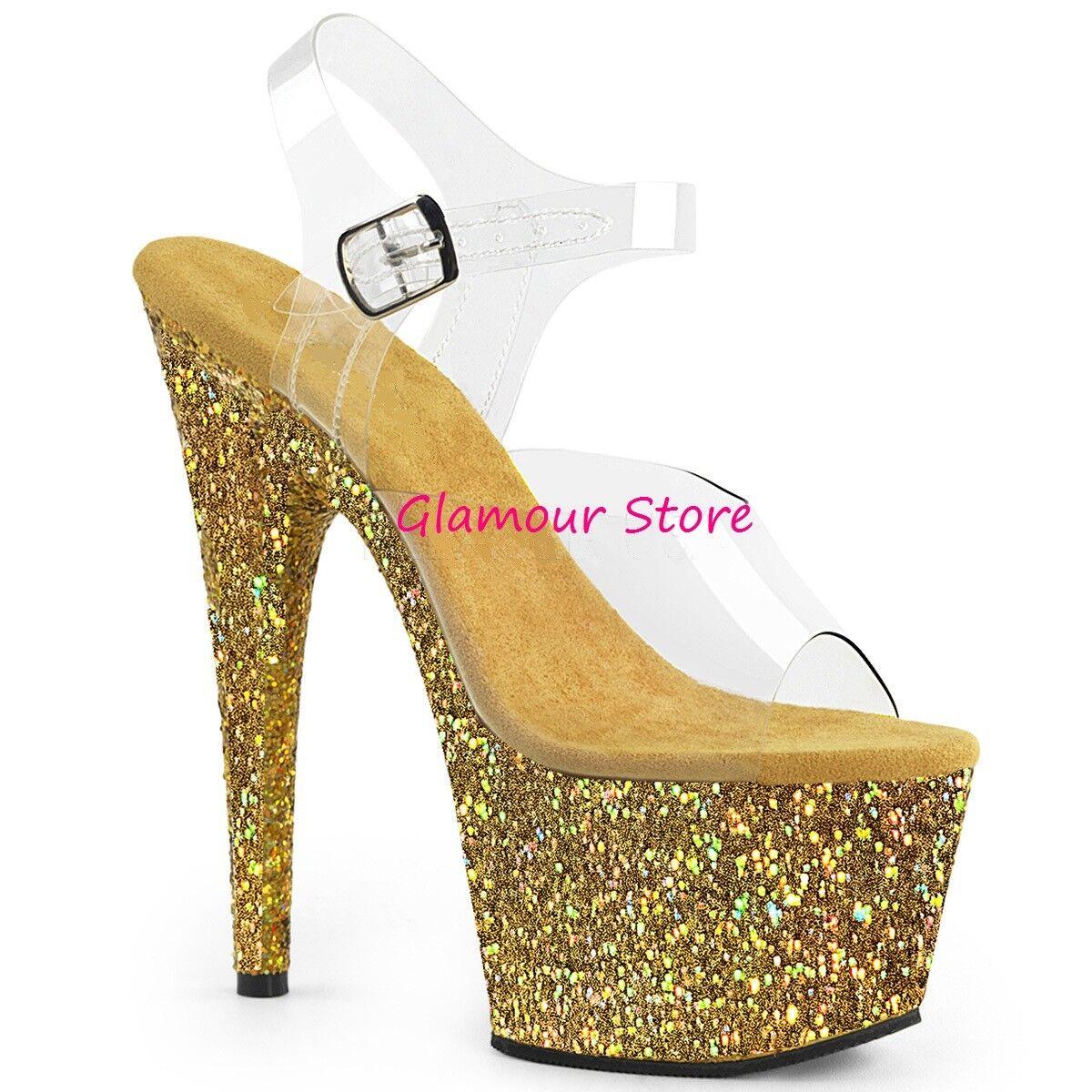 Sexy SANDALI GLITTER oro TRASPARENTE tacco 18 originali USA zapatos CLUB glamour