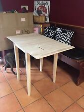 Drop Leaf Folding Table Solid Parawood Unfinished Kitchen Dining Home
