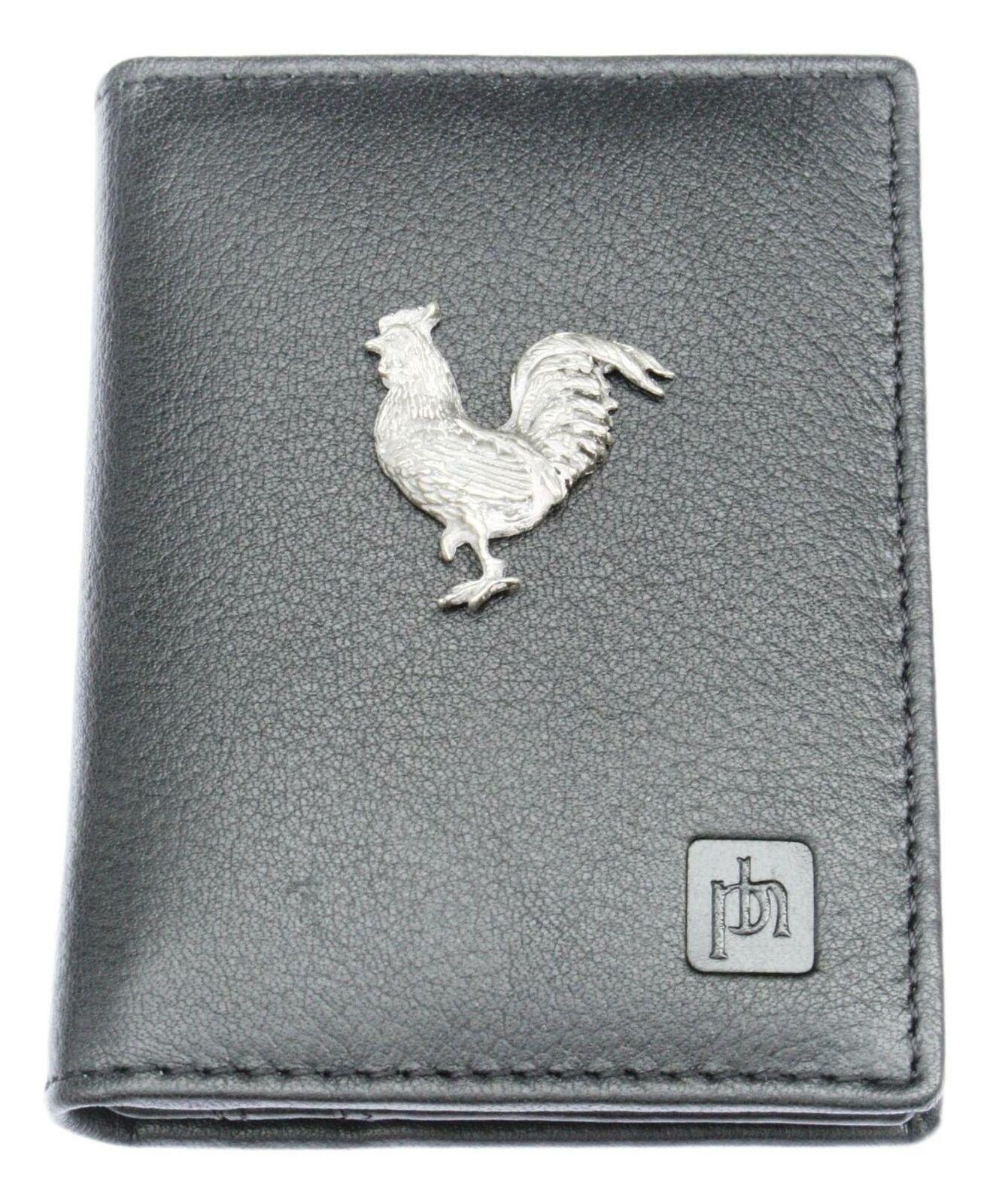 Chicken Bifold Card Holder Leather Black Wallet RFID Safe 71
