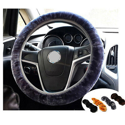 "34cm/13.4"" Warm Plush Fleece Car Steering Wheel Cover Cute Auto Interior Decor"