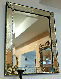 toller-antiker-MURANO-Spiegel-dickes-qualitaetvoll-geschliffenes-Glas-66x54cm
