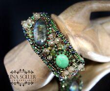 Designer Armreif mit Labradorit und Smaragd, Handarbeit!