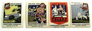 "1937 set (4) ""Toledo Centennial Homecoming Celebration"" Poster Stamps *"