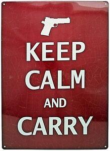 12-034-x-17-034-Tin-Metal-Sign-Wall-Hang-Keep-Calm-And-Carry-Gun-Pistol-2nd-Amendment