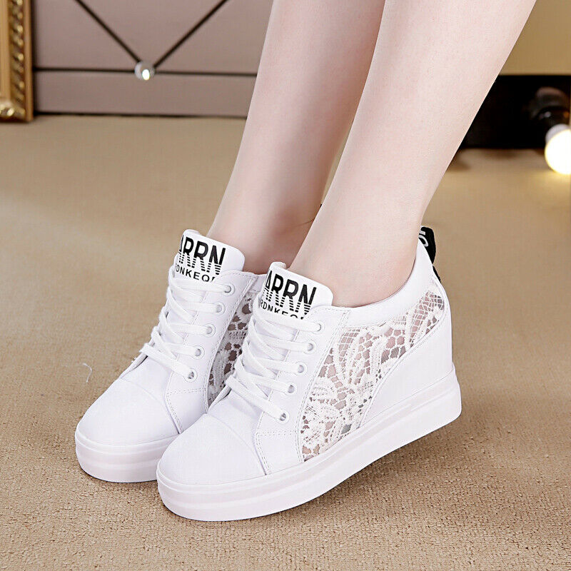 Womens Casual Athletic Hollow Breathable Wedge Heels Pumps Sneaker Trainer shoes