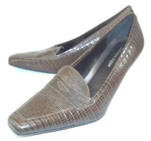 Wos Snake Schoenen Labelle Leather Etienne 01 Heel Loafer Us8m Bruin Aigner Penny QdBeWErxCo