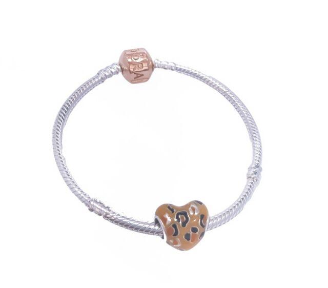PANDORA Silver Charm Bracelet W/ Rose Clasp - 580702-16 16cm Authentic