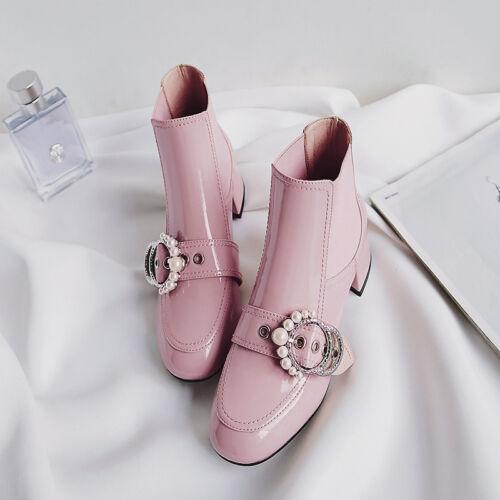 Fashion Women/'s Sweet Boucles Perles Bottines à talon bottier suqre Toe casul Chaussures