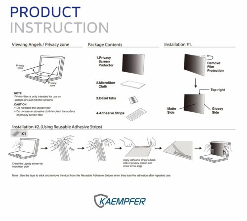"""KAEMPFER Privacy Filter Screen Protector for Apple MacBook Pro 13/"""" 2012~2015"""