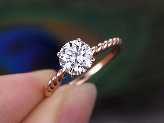 1.00 Ct Bridal Moissanite Engagement Ring 14K Round Cut Real pink gold Size 5 6