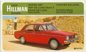 Hillman gamma brochure circa 1968 IMP SUPER Imp Minx