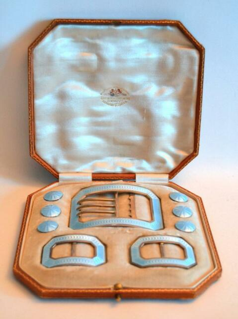 Silver & Enamel Buckles and Buttons by Goldsmith Silversmith Co. In Leather Box