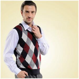 Men-Wool-Waistcoat-Gilet-Vest-Vintage-Sleeveless-Jumper-Check-Pullover-Sweater