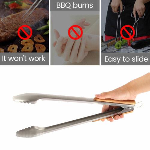 XXL Premium Edelstahl Holz Grill Zange Besteck BBQ Steak Beef Wender Camping