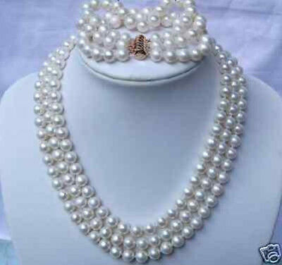 3ROW WHITE FRESHWATER PEARL NECKLACE & BRACELETS