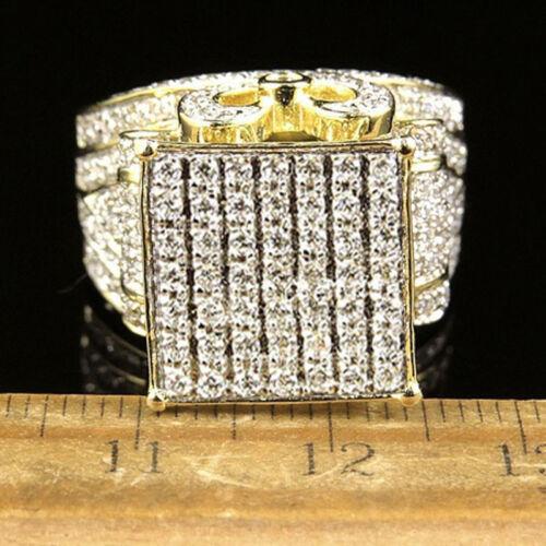 Men/'s Big Bold Genuine Diamond Yellow Gold 925 Silver Filled Ring Mens 1pc