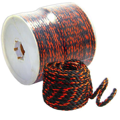 "1//2/"" X 600/' ft Poly Standard Truck Rope Rot Resistant Black Orange Trance"