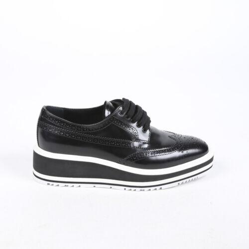 Prada Flats Black Patent Leather Platform Brogue S